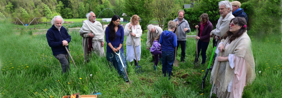 Members and friends of Ecovillage Bhrugu Aranya breaking ground for the Centre of Light.