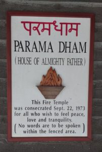 Sign on the porch of Parama Dham